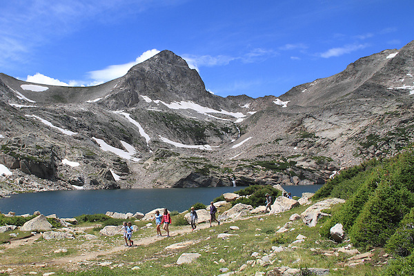 Children hiking at Blue Lake below Mount Toll in the Indian Peaks Wilderness Area, west of Boulder, Colorado. Private guided tours to Indian Peaks. Private photo tours to Indian Peaks. .  John leads private photo tours in Boulder and throughout Colorado. Year-round.