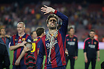 Barcelona´s Pique after winning the 2014-15 Copa del Rey final match against Athletic de Bilbao at Camp Nou stadium in Barcelona, Spain. May 30, 2015. (ALTERPHOTOS/Victor Blanco)