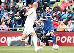 Getafe's Pablo Sarabia (r) and Real Madrid's Pepe during La Liga match. April 16,2016. (ALTERPHOTOS/Acero)