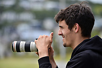 Hamish Wareham films the Premier T20 Cup Wellington men's twenty20 cricket match between Johnsonville and Petone-Riverside at Alex Moore Park in Wellington, New Zealand on Saturday, 9 January 2021. Photo: Dave Lintott / lintottphoto.co.nz