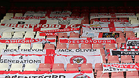 Brentford banners and flags were placed over the empty seats during Brentford vs West Bromwich Albion, Sky Bet EFL Championship Football at Griffin Park on 26th June 2020