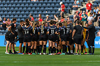 BRIDGEVIEW, IL - JULY 18: Chicago Red Stars huddle after a game between OL Reign and Chicago Red Stars at SeatGeek Stadium on July 18, 2021 in Bridgeview, Illinois.