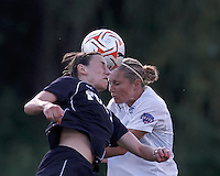 New York Fury substitute forward Claire Zimmeck (22) and Boston Breakers defender Taryn Hemmings (25) battle for head ball. In a Women's Premier Soccer League Elite (WPSL) match, the Boston Breakers defeated New York Fury, 2-0, at Dilboy Stadium on June 23, 2012.