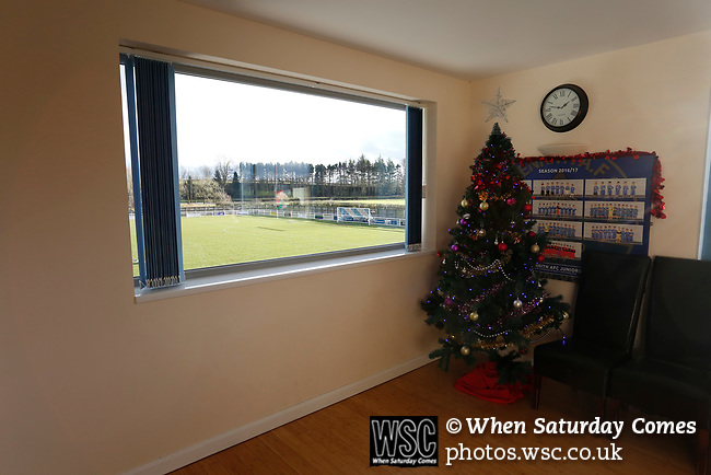 A Christmas tree in the function room at Frenchfield Park. Penrith AFC V Hebburn Town, Northern League Division One, 22nd December 2018. Penrith are the only Cumbrian team in the Northern League. All the other teams are based across the Pennines in the north east.<br /> Penrith, winless at kick off, lost a thriller 3-4, in front of 100 people. They won five games all season, but were reprieved from relegation following Blyth's resignation from the league.