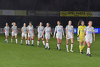 OHL's team entering the pitch in Corona style pictured during a female soccer game between  AA Gent Ladies and Oud Heverlee Leuven on the 9th matchday of the 2020 - 2021 season of Belgian Scooore Womens Super League , friday 11 th of December 2020  in Oostakker , Belgium . PHOTO SPORTPIX.BE | SPP | DIRK VUYLSTEKE