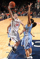 CHARLOTTESVILLE, VA- JANUARY 5: Lexie Gerson #14 of the Virginia Cavaliers shoots next to Krista Gross #21 of the North Carolina Tar Heels during the game on January 5, 2012 at the John Paul Jones arena in Charlottesville, Virginia. North Carolina defeated Virginia 78-73. (Photo by Andrew Shurtleff/Getty Images) *** Local Caption *** Lexie Gerson;Krista Gross