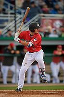 Batavia Muckdogs Nic Ready (5) bats during a NY-Penn League game against the Auburn Doubledays on June 14, 2019 at Dwyer Stadium in Batavia, New York.  Batavia defeated 2-0.  (Mike Janes/Four Seam Images)
