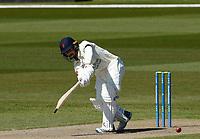 15th April 2021; Emirates Old Trafford, Manchester, Lancashire, England; English County Cricket, Lancashire versus Northants;  Josh Bohannon of Lancashire clips off his feet