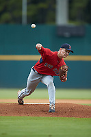Starting pitcher Calvin Ziegler (48) of St Mary's HS in Heidelberg, ON playing for the Boston Red Sox scout team during the East Coast Pro Showcase at the Hoover Met Complex on August 3, 2020 in Hoover, AL. (Brian Westerholt/Four Seam Images)