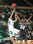 North Texas Mean Green forward Ash'Lynne Evans (1) and Troy Trojans forward Dominique Ross (50) in action during the game between the Troy Trojans and the University of North Texas Mean Green at the North Texas Coliseum,the Super Pit, in Denton, Texas. UNT defeats Troy 57 to 36.....