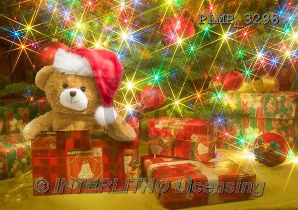 Marek, CHRISTMAS ANIMALS, WEIHNACHTEN TIERE, NAVIDAD ANIMALES, teddies, photos+++++,PLMP3298,#Xa# under Christmas tree,