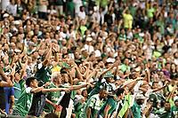 PALMIRA - COLOMBIA, 08-02-2020: Hinchas del Cali animan a su equipo durante partido entre Deportivo Cali y América de Cali por la fecha 4 de la Liga BetPlay DIMAYOR I 2020 jugado en el estadio Deportivo Cali de la ciudad de Palmira. / Fans of Cali cheer for their team during match between Deportivo Cali and America de Cali for the date 4 as part of BetPlay DIMAYOR League I 2020 at Deportivo Cali stadium in Palmira city . Photo: VizzorImage / Gabriel Aponte / Staff