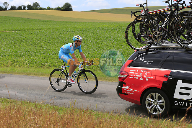 Andriy Grivko (UKR) Astana at the rear as the convoy pass through rural landscape near Bemont during Stage 4 of the 2014 Tour de France running 163.5km from Le Touquet to Lille. 8th July 2014.<br /> Picture: Eoin Clarke www.newsfile.ie