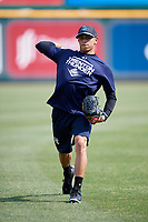 Trenton Thunder pitcher Jonathan Loaisiga (32) warms up in the outfield before a game against the Richmond Flying Squirrels on May 11, 2018 at The Diamond in Richmond, Virginia.  Richmond defeated Trenton 6-1.  (Mike Janes/Four Seam Images)