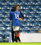 18.3.2021 Rangers v Slavia Prague: Steven Gerrard hugs Glen Kamara