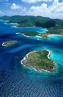 Aerial view of Henley Cay and Caneel Bay Resort, Hawksnest Bay, Trunk Bay and Cinnamon Bay.St John, U.S. Virgin Islands