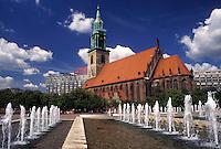 church, Berlin, Germany, Europe, Fountain at Marienkirche at the Alexanderplatz