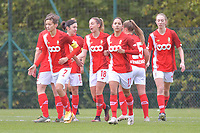 Standard CL celebrating a goal during a female soccer game between Standard Femina de Liege and Dames SV Zulte Waregem on the fifth matchday of the 2020 - 2021 season of Belgian Scooore Womens Super League , saturday 17 th of October 2020  in Angleur , Belgium . PHOTO SPORTPIX.BE | SPP | STIJN AUDOOREN