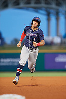 Jacksonville Jumbo Shrimp shortstop Joe Dunand (1) runs the bases during a game against the Pensacola Blue Wahoos on August 15, 2018 at Blue Wahoos Stadium in Pensacola, Florida.  Jacksonville defeated Pensacola 9-2.  (Mike Janes/Four Seam Images)