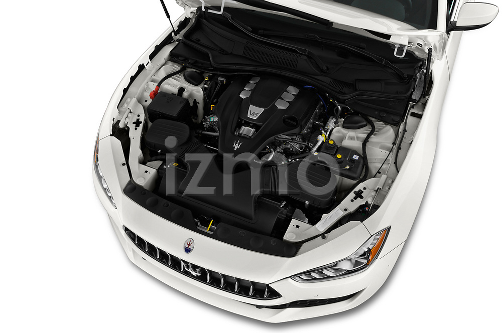 Car stock 2020 Maserati Ghibil Base 4 Door Sedan engine high angle detail view