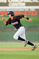 Ryan Hamme #18 of the Kannapolis Intimidators takes off for second base against the Lakewood BlueClaws at Fieldcrest Cannon Stadium July 14, 2010, in Kannapolis, North Carolina.  Photo by Brian Westerholt / Four Seam Images