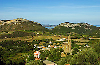 Corsica. Patrimonio village on Cap Corse. France.  Corsica's principal wine producing village and area. Eglise San Martinu..