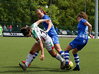 Lobke Loonen (19) of AA Gent, Luna Vanzeir (10) of OHL and Emma Van Britsom (6) of AA Gent battle for the ball during a female soccer game between Oud Heverlee Leuven and AA Gent Ladies on the 9 th matchday of play off 1 in the 2020 - 2021 season of Belgian Womens Super League , saturday 22 nd of May 2021  in Heverlee , Belgium . PHOTO SPORTPIX.BE | SPP | SEVIL OKTEM