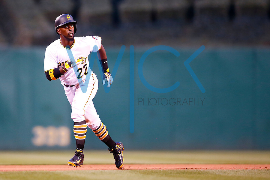 Andrew McCutchen #22 of the Pittsburgh Pirates in action against the during the game at PNC Park in Pittsburgh, Pennsylvania on April 6, 2016. (Photo by Jared Wickerham / DKPS)