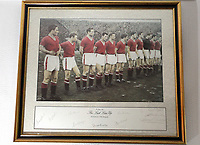 Pictured: Print showing the last Manchester United lineup before the tragic Munich air disaster. Monday 14 November 2011<br /> Re: 72 year old Kenny Morgans (correct) who signed for Manchester United on leaving school in the summer of 1955 <br /> He suffered minor injuries in the Munich air disaster, when still only 18 years old and was found unconscious amongst the debris by two journalists five hours after the official search was called off.<br /> He made a full recovery following the crash but never regained his form on the pitch and later played in the lower divisions for Swansea Town and Newport County before retiring from football in 1967.