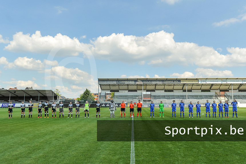 line-up Eendracht Aalst ( Justine Blave (22) , Niekie Pellens (41) , Loes Van Mullem (33) , Stephanie Van Gils (27) , Henriette Awete (19) , Nina Vindevoghel (10) , Valentine Hannecart (8) , Anke Vanhooren (7) , Tiffanie Vanderdonckt (5) , Goalkeeper Lisa Vandeputte (1) , Tiana Andries (11) ) , mascotte Aalst , assistant referee Heidi Houtthave , referee Irmgard van Meirvenne , assistant referee Stijn Mertens and KRC Genk ( Sien Vandersanden (10) , goalkeeper Joséphine Delvaux (1) , Lotte Van Den Steen (15) , Sterre Gielen (14) , Fleur Pauwels (66) , Silke Sneyers (2) , Gwen Duijsters (13) , Jorien Voets (20) , Luna Vanhoudt (43) , Emily Steijvers (33) , Hanne Merkelbach (25) ) pictured before a female soccer game between Eendracht Aalst and Racing Genk on the 10 th and last matchday of play off 2 of the 2020 - 2021 season of Belgian Scooore Womens Super League , Saturday 29 st of May 2021  in Aalst , Belgium . PHOTO SPORTPIX.BE | SPP | STIJN AUDOOREN