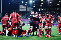 16th October 2020, Stade Maurice David, Aix-en-Provence, France;  Challenge Cup Rugby Final Bristol Bears versus RC Toulon;  Bristol Bears celabrate the try from Harry Randall