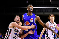 Romaro Gill of the Wellington Saints and Quinton Bailey of the Canterbury Rams during the round one NBL match between the Wellington Saints and the Canterbury Rams at TSB Bank Arena, Wellington, New Zealand on Friday 30 April 2021.<br /> Photo by Masanori Udagawa. <br /> www.photowellington.photoshelter.com