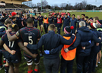 London Scottish hold a team talk at full time during the Greene King IPA Championship match between London Scottish Football Club and Jersey at Richmond Athletic Ground, Richmond, United Kingdom on 16 December 2017. Photo by Mark Kerton / PRiME Media Images.