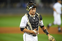 UCF Knights catcher Dallas Beaver (38) during a game against the Siena Saints on February 17, 2017 at UCF Baseball Complex in Orlando, Florida.  UCF defeated Siena 17-6.  (Mike Janes/Four Seam Images)
