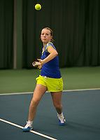 Rotterdam, The Netherlands, 15.03.2014. NOJK 14 and 18 years ,National Indoor Juniors Championships of 2014, Ieke van Vught (NED)<br /> Photo:Tennisimages/Henk Koster