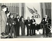 Le premier ministre Rene Levesque <br /> au Gala des Mercuriades<br /> , le 26 fevrier 1982<br /> <br /> <br /> PHOTO : Agence Quebec Presse