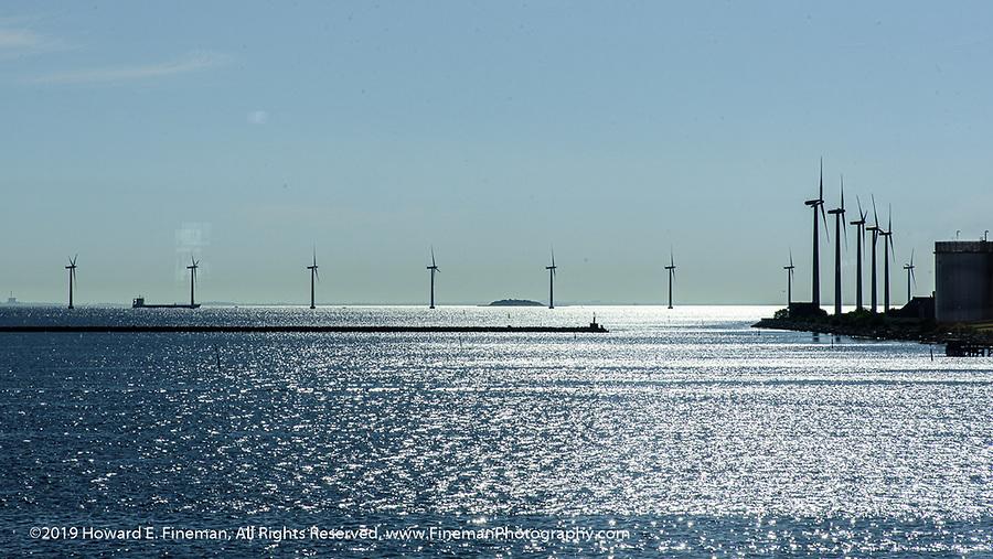 Wind turbines gracing the entrance to Copenhagen harbor