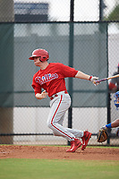 Philadelphia Phillies Ben Pelletier (26) follows through on a swing during an Instructional League game against the Toronto Blue Jays on September 30, 2017 at the Carpenter Complex in Clearwater, Florida.  (Mike Janes/Four Seam Images)