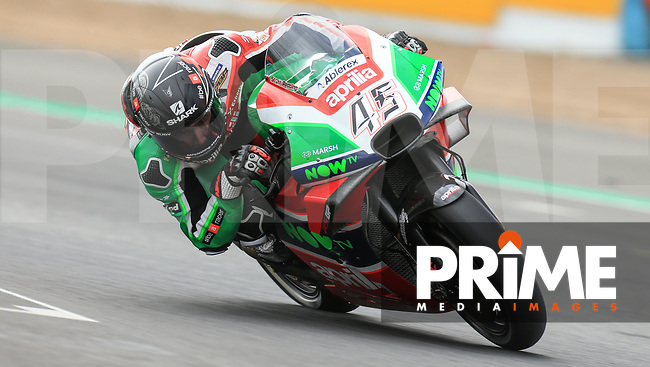 Scott Redding (45) of the Aprilia Racing Team Gresini race team during the GoPro British MotoGP at Silverstone Circuit, Towcester, England on 24 August 2018. Photo by Chris Brown / PRiME Media Images