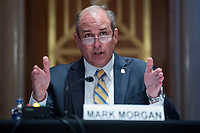 """Mark A. Morgan, acting commissioner of the U.S. Customs and Border Protection, testifies during the US Senate Homeland Security and Governmental Affairs Committee hearing titled """"CBP Oversight: Examining the Evolving Challenges Facing the Agency,"""" in Dirksen Senate Office Building on Thursday, June 25, 2020.<br /> Credit: Tom Williams / Pool via CNP/AdMedia"""