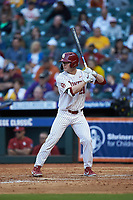 Brady Harlan (21) of the Oklahoma Sooners at bat against the Arkansas Razorbacks in game two of the 2020 Shriners Hospitals for Children College Classic at Minute Maid Park on February 28, 2020 in Houston, Texas. The Sooners defeated the Razorbacks 6-3. (Brian Westerholt/Four Seam Images)