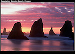 Don't ever turn your back on the sea. Seastacks at sunset.<br /> Pacific Ocean coastline, Bandon Beach, Oregon. .  John leads private photo tours throughout Colorado. Year-round Colorado photo tours. John offers private photo tours in Washington and throughout Colorado. Year-round.