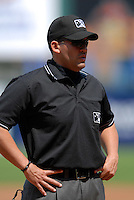 International League Umpire Manny Gonzalez during a game between the Pawtucket Red Sox and Toledo Mud Hens on May 3, 2011 at McCoy Stadium in Pawtucket, Rhode Island. Photo by Ken Babbitt/Four Seam Images.