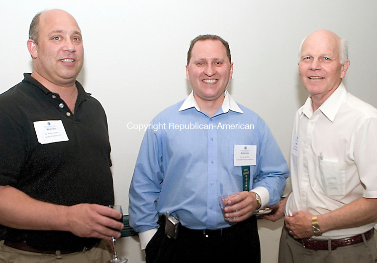 "SOUTHBURY, CT -27 JULY 06- 072706JT11-<br /> Of Waterbury, Warren Hudak, Jr. of Hudak & Co. with Antonio Pinto of MyInsuranceAssistant.net and and Peter Hammar of Allegra Print & Imaging at the Waterbury Regional Chamber's ""Out for Business"" garden party at Dolce Heritage in Heritage Village in Southbury on Thursday, July 27. The Chamber's ""Out for Business"" events provide an opportunity for members to develop new business relationships in a relaxed, social setting.<br /> Josalee Thrift Republican-American"