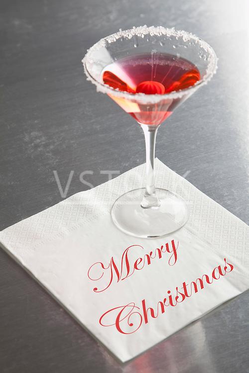 "USA, Illinois, Metamora, Martini glass with ""Merry Christmas"" napkin"