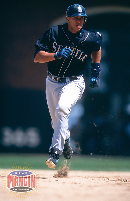 SAN FRANCISCO, CA:  Alex Rodriguez of the Seattle Mariners in action during a game against the San Francisco Giants at Pacific Bell Park in San Francisco, California in 2000. (Photo by Brad Mangin)