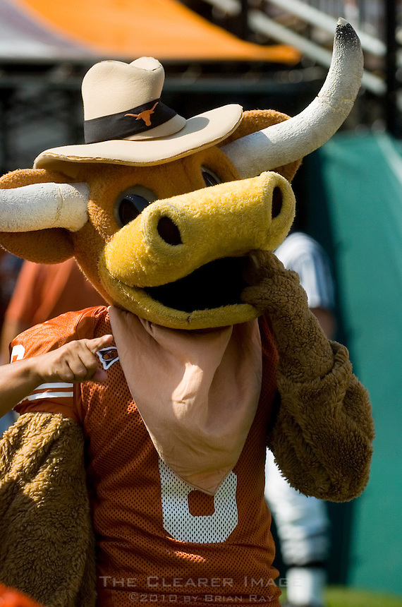 02 September 2006: University of Texas mascot, Hook'em, struts his stuff prior to the Longhorns' game against the University of North Texas at Darrell K Royal Memorial Stadium in Austin, TX.