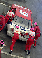 Bill Elliott pits pit stop Daytona 500 at Daytona International Speedway on February 19, 1989.  (Photo by Brian Cleary/www.bcpix.xom)