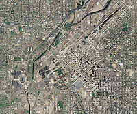 aerial photo map of Denver, Colorado, 2009.  For a more recent aerial map of Denver, please contact Aerial Archives.