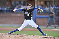 UNC Asheville Bulldogs pitcher Tyler Hughes (18) delivers a pitch during a game against the Tennessee Volunteers at McCormick Field on March 15, 2016 in Asheville, North Carolina. The Volunteers defeated the Bull Dogs 7-3. (Tony Farlow/Four Seam Images)